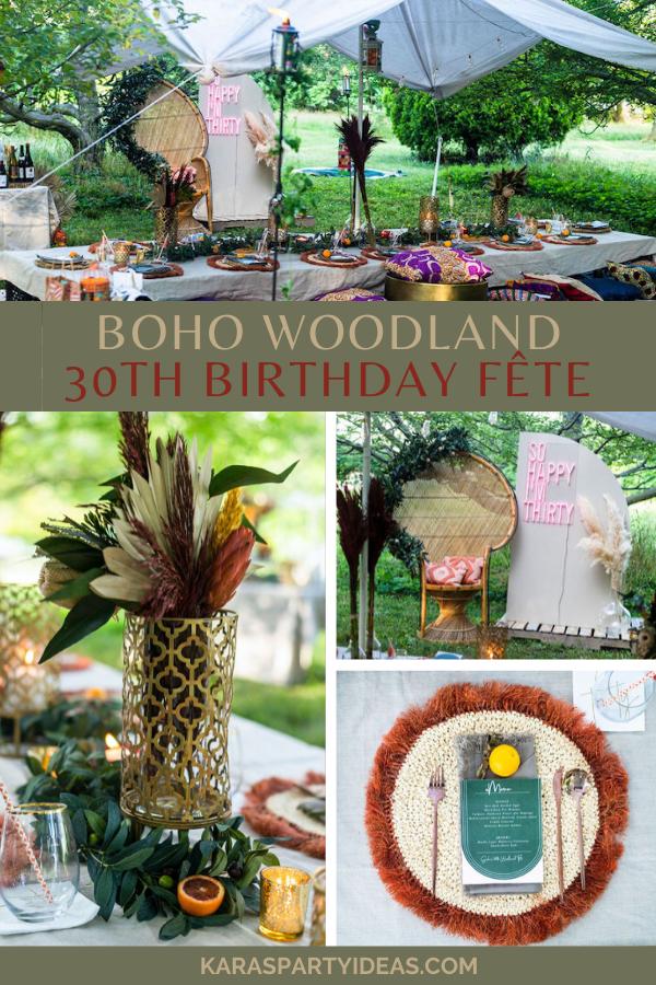 Boho Woodland 30th Birthday Fête via Kara's Party Ideas - KarasPartyIdeas.com