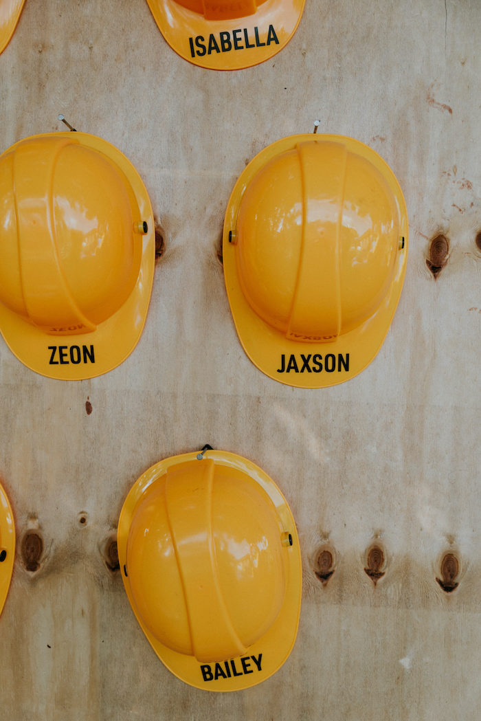 Personalized Hard Hats from a Construction Birthday Party on Kara's Party Ideas | KarasPartyIdeas.com (10)