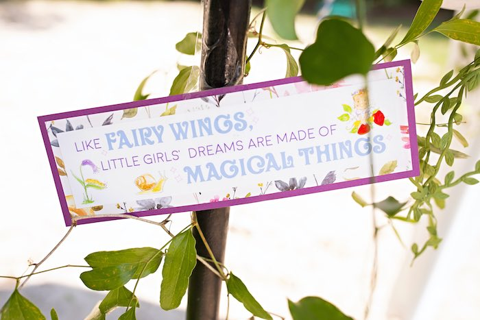 Fairy Wings & Magical Things Sign from a Fairy Fabulous Birthday Party on Kara's Party Ideas | KarasPartyIdeas.com (33)