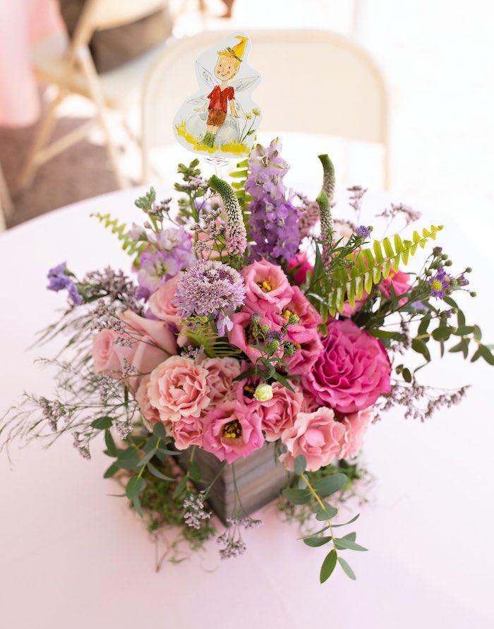 Fairy Party Floral Table Centerpiece from a Fairy Fabulous Birthday Party on Kara's Party Ideas | KarasPartyIdeas.com (29)