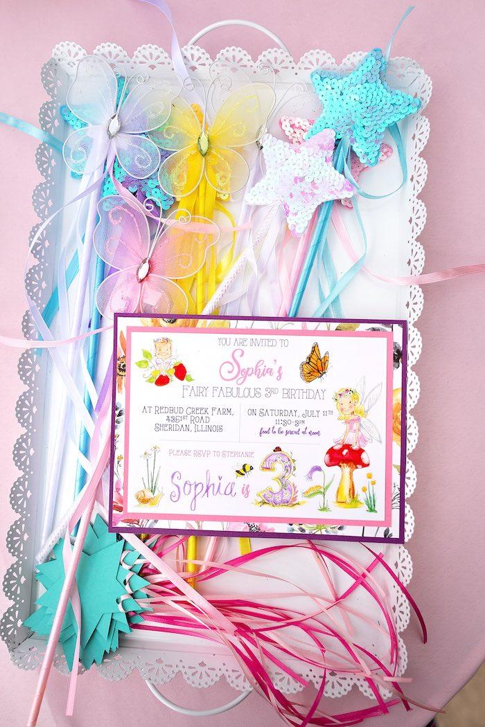 Fairy Party Invite + Wands from a Fairy Fabulous Birthday Party on Kara's Party Ideas | KarasPartyIdeas.com (11)