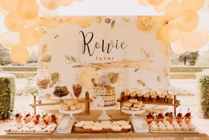 Bee Themed Dessert Table from a First Bee-Day Bumblebee 1st Birthday Party on Kara's Party Ideas | KarasPartyIdeas.com (8)