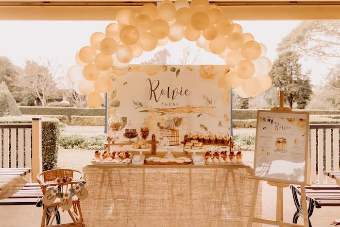 Bee Themed Dessert Table from a First Bee-Day Bumblebee 1st Birthday Party on Kara's Party Ideas | KarasPartyIdeas.com (6)
