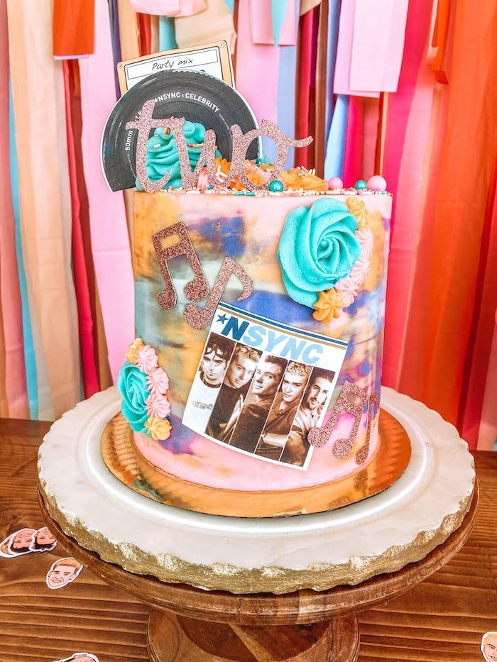 NSYNC-inspired Birthday Cake from a Girly NSYNC Birthday Party on Kara's Party Ideas | KarasPartyIdeas.com (7)