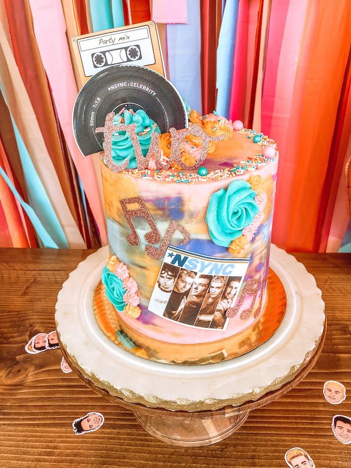 NSYNC-inspired Birthday Cake from a Girly NSYNC Birthday Party on Kara's Party Ideas | KarasPartyIdeas.com (12)
