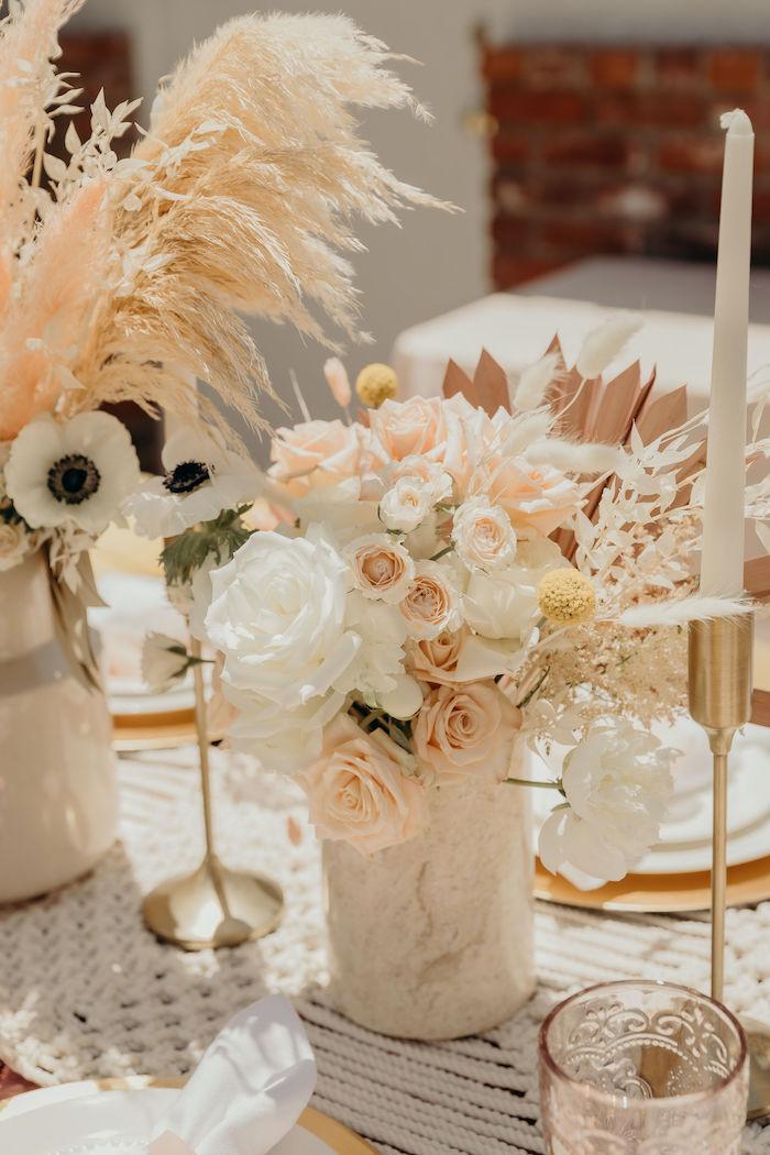 Blush & White Boho Floral Arrangement + Centerpiece from a Gypsy Boho Baby Shower on Kara's Party Ideas | KarasPartyIdeas.com (26)