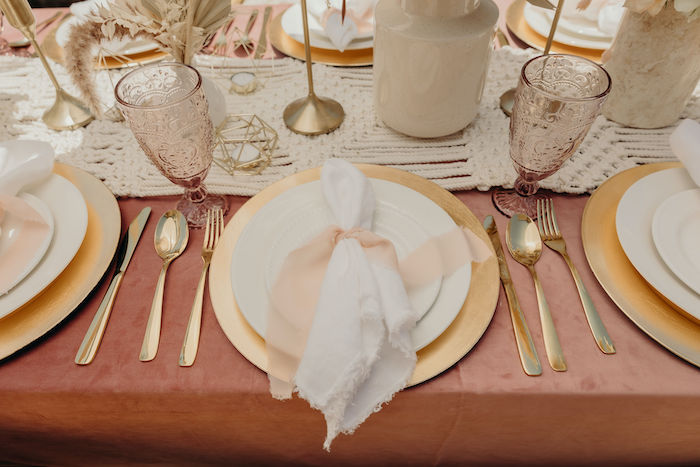 Gold + White + Blush Table Setting from a Gypsy Boho Baby Shower on Kara's Party Ideas | KarasPartyIdeas.com (25)