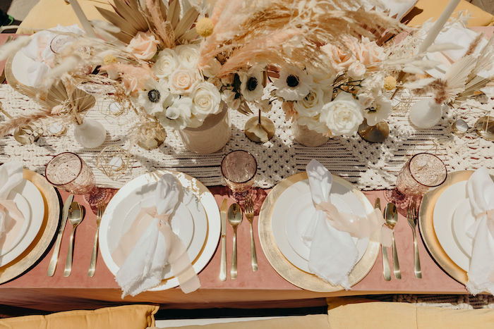 Gold + White + Blush Table Settings from a Gypsy Boho Baby Shower on Kara's Party Ideas | KarasPartyIdeas.com (24)