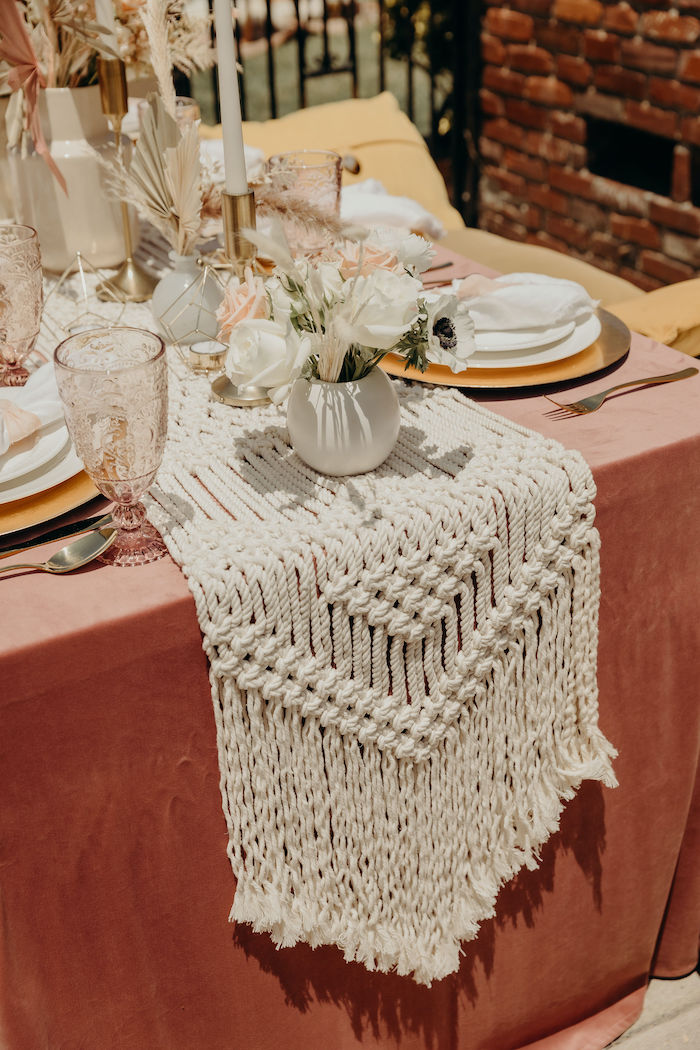 Macrame Runner from a Gypsy Boho Baby Shower on Kara's Party Ideas | KarasPartyIdeas.com (23)