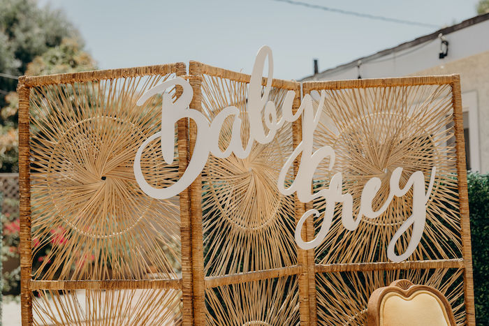 Rattan Baby Grey Backdrop + Divider from a Gypsy Boho Baby Shower on Kara's Party Ideas | KarasPartyIdeas.com (18)