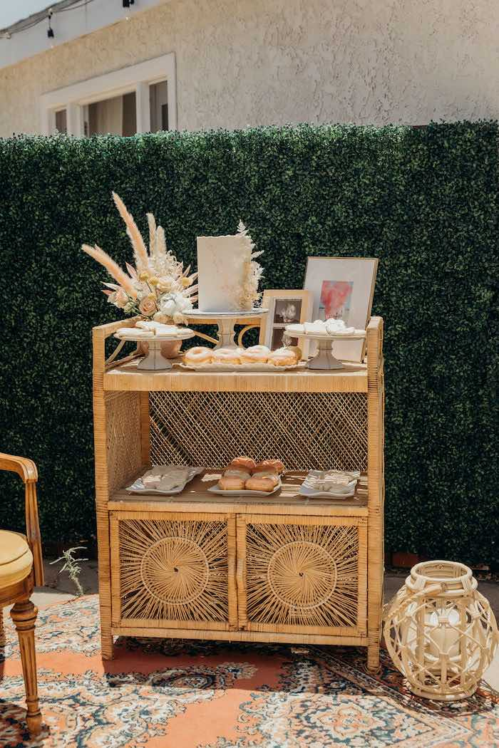 Boho Cake + Dessert Table from a Gypsy Boho Baby Shower on Kara's Party Ideas | KarasPartyIdeas.com (16)