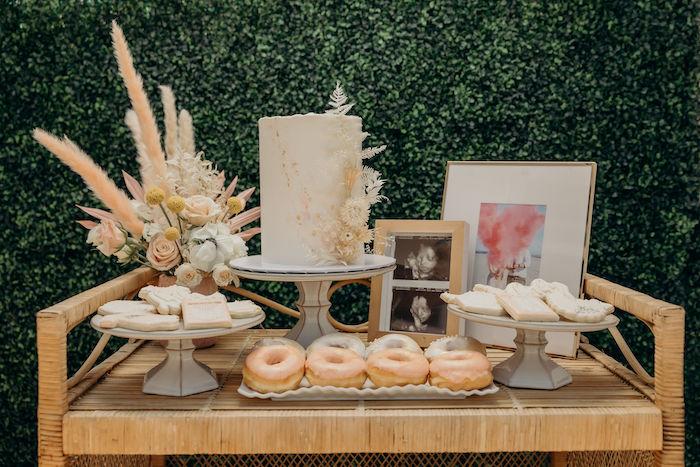 Boho Cake + Dessert Table from a Gypsy Boho Baby Shower on Kara's Party Ideas | KarasPartyIdeas.com (15)