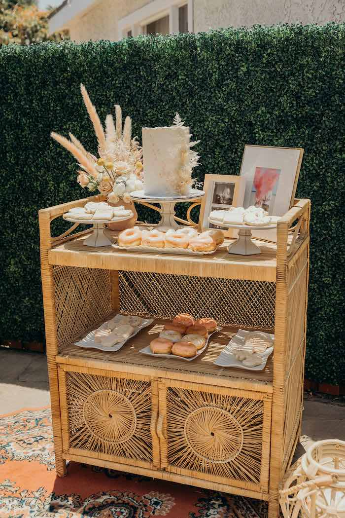 Boho Cake + Dessert Table from a Gypsy Boho Baby Shower on Kara's Party Ideas | KarasPartyIdeas.com (9)