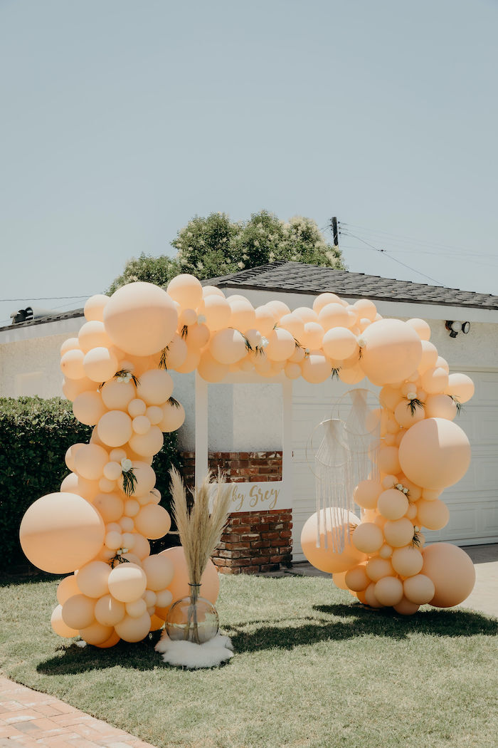 Boho-inspired Peach Balloon Arch + Photo Booth from a Gypsy Boho Baby Shower on Kara's Party Ideas | KarasPartyIdeas.com (30)