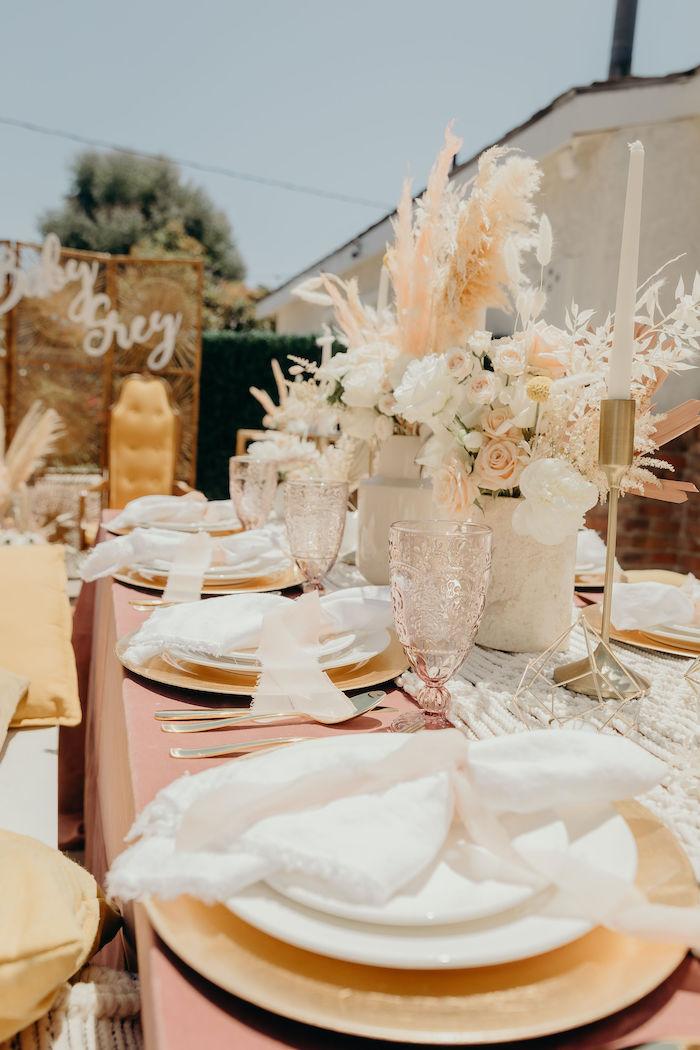 Guest Tablecape from a Gypsy Boho Baby Shower on Kara's Party Ideas | KarasPartyIdeas.com (28)