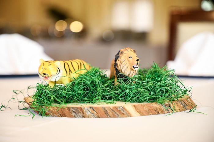 Safari Themed Table Centerpiece from a Jungle Safari Birthday Party on Kara's Party Ideas | KarasPartyIdeas.com (33)