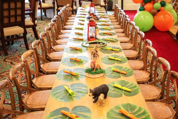 Jungle Safari-inspired Kid Table from a Jungle Safari Birthday Party on Kara's Party Ideas | KarasPartyIdeas.com (31)