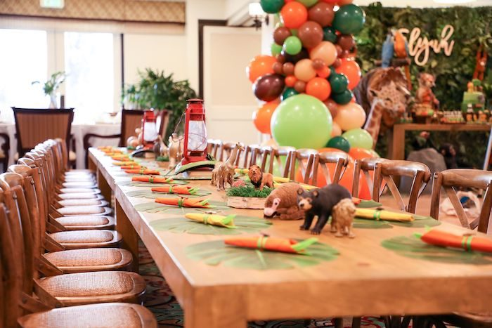 Safari-inspired Kid Table from a Jungle Safari Birthday Party on Kara's Party Ideas | KarasPartyIdeas.com (30)