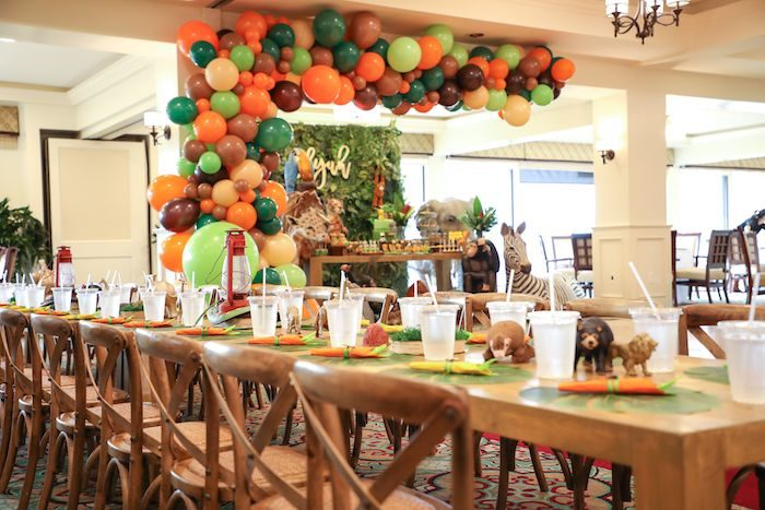 Safari-inspired Kid Table from a Jungle Safari Birthday Party on Kara's Party Ideas | KarasPartyIdeas.com (28)