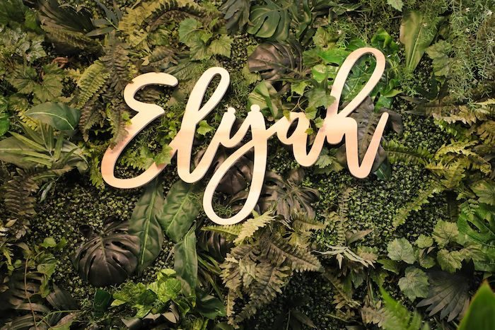 Laser-cut Name Sign from a Jungle Safari Birthday Party on Kara's Party Ideas | KarasPartyIdeas.com (27)