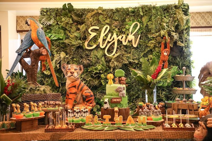 Jungle Safari Dessert Table from a Jungle Safari Birthday Party on Kara's Party Ideas | KarasPartyIdeas.com (21)