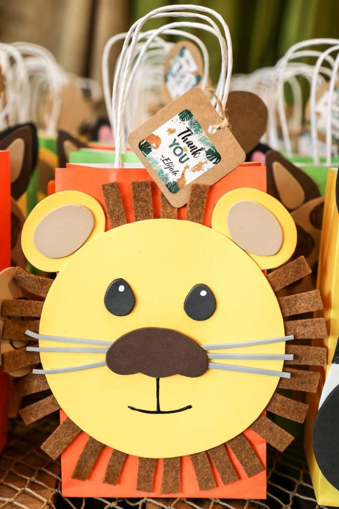 Lion Gift Bag from a Jungle Safari Animal Favor Bags from a Jungle Safari Birthday Party on Kara's Party Ideas | KarasPartyIdeas.com (47)