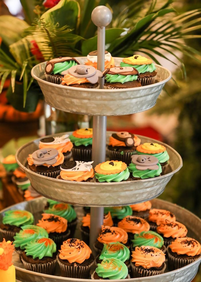 Jungle Safari Themed Cupcakes from a Jungle Safari Birthday Party on Kara's Party Ideas | KarasPartyIdeas.com (16)