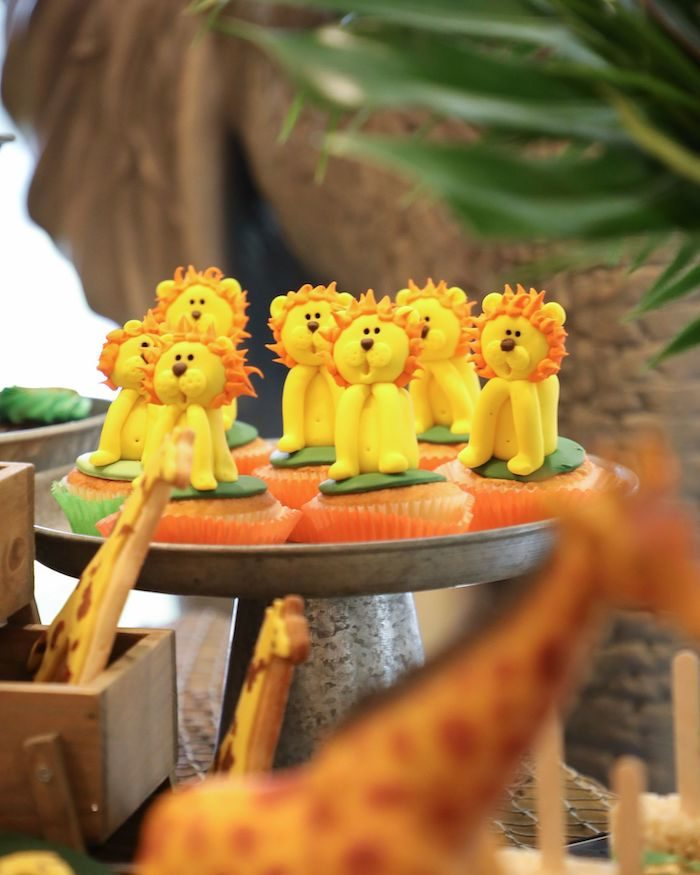 Lion Cupcakes from a Jungle Safari Birthday Party on Kara's Party Ideas | KarasPartyIdeas.com (14)