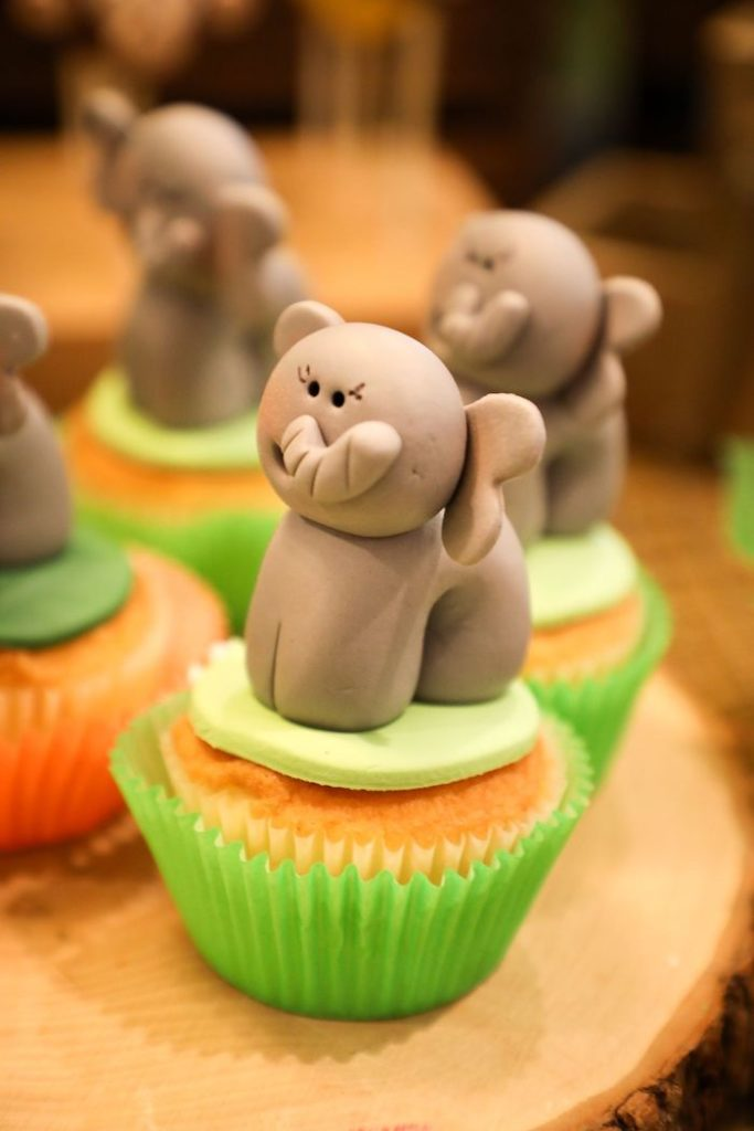 Elephant Cupcakes from a Jungle Safari Birthday Party on Kara's Party Ideas | KarasPartyIdeas.com (13)
