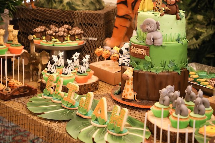 Jungle Themed Dessert Table from a Jungle Safari Birthday Party on Kara's Party Ideas | KarasPartyIdeas.com (9)