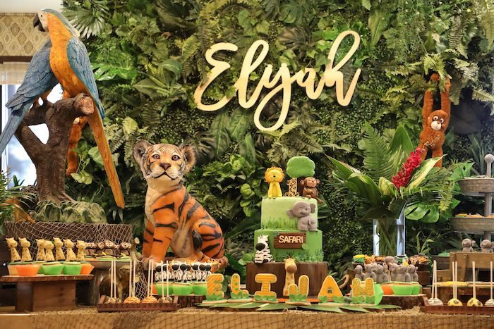 Jungle Themed Cake Table from a Jungle Safari Birthday Party on Kara's Party Ideas | KarasPartyIdeas.com (8)