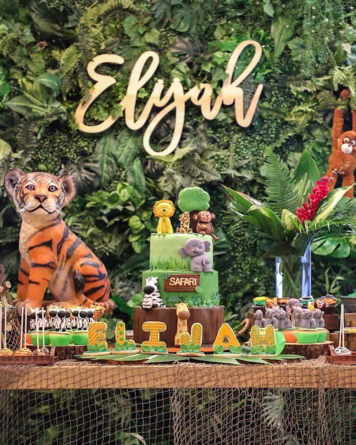 Jungle Themed Cake Table from a Jungle Safari Birthday Party on Kara's Party Ideas | KarasPartyIdeas.com (7)