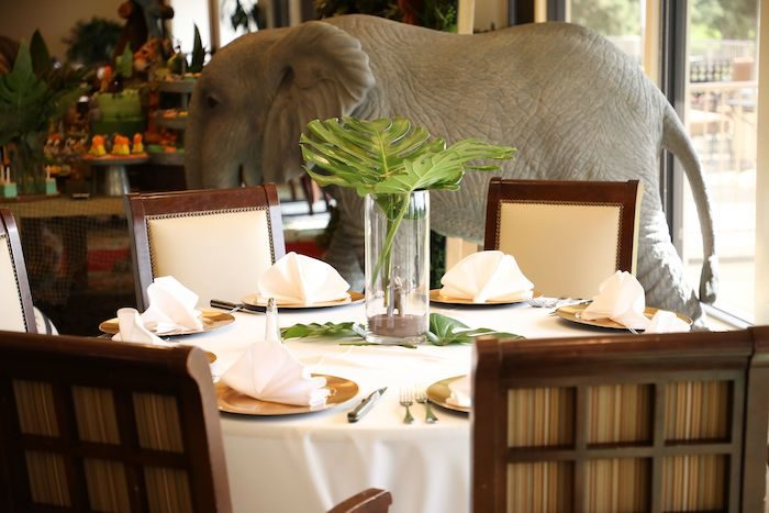 Guest Table from a Jungle Safari Birthday Party on Kara's Party Ideas | KarasPartyIdeas.com (41)