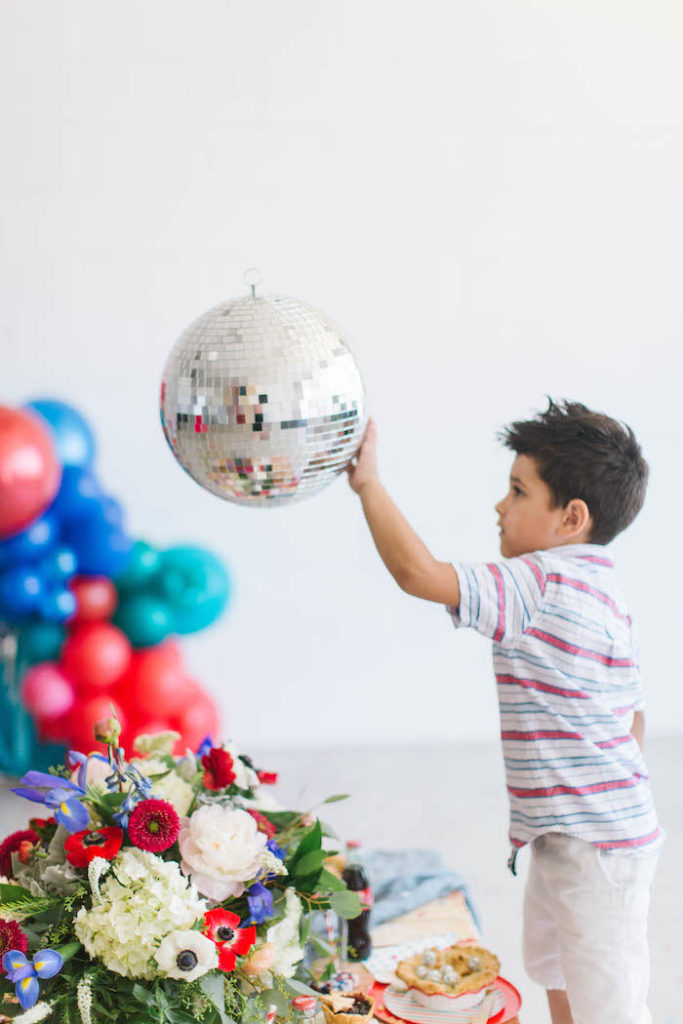 Disco Ball from a Modern Classic July 4th Party on Kara's Party Ideas | KarasPartyIdeas.com (18)