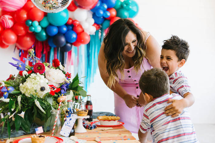4th of July Kid Table from a Modern Classic July 4th Party on Kara's Party Ideas | KarasPartyIdeas.com (4)