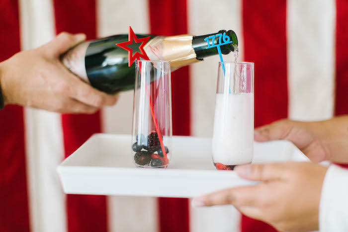 """4th of July """"Cheers"""" + Beverages from a Modern Classic July 4th Party on Kara's Party Ideas 