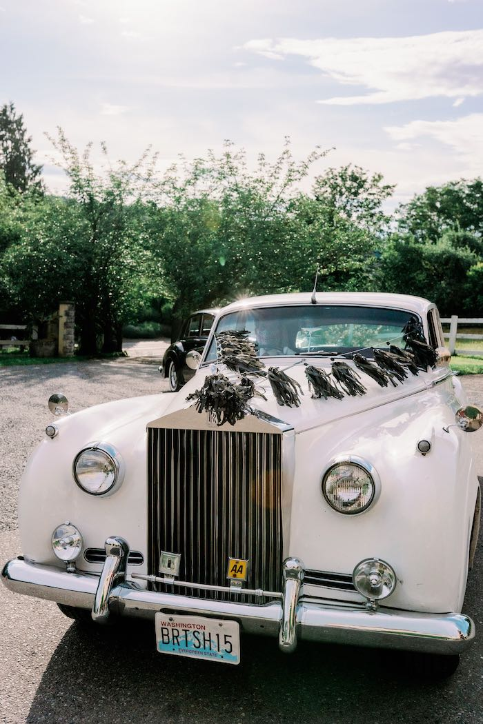 Classic Car Decked out in Tassels from a Modern Graduation Drive-By + Family Dinner on Kara's Party Ideas | KarasPartyIdeas.com (27)