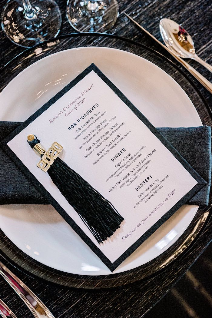 Grad Tassel Menu from a Modern Graduation Drive-By + Family Dinner on Kara's Party Ideas | KarasPartyIdeas.com (15)