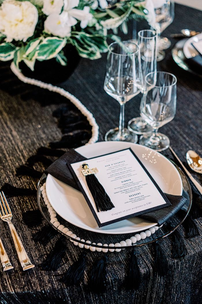 Monochromatic Table Setting from a Modern Graduation Drive-By + Family Dinner on Kara's Party Ideas | KarasPartyIdeas.com (13)