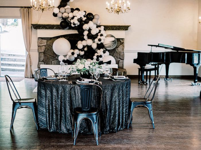 Monochromatic Dining Table from a Modern Graduation Drive-By + Family Dinner on Kara's Party Ideas | KarasPartyIdeas.com (12)