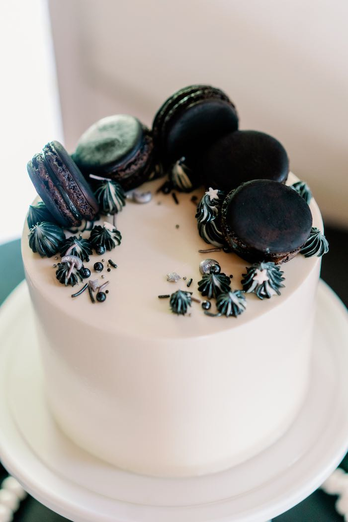 Monochromatic Cake from a Modern Graduation Drive-By + Family Dinner on Kara's Party Ideas | KarasPartyIdeas.com (10)