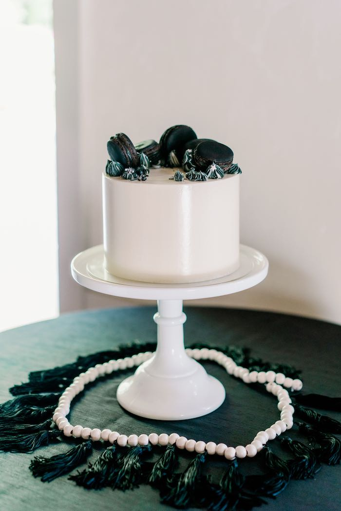 Monochromatic Cake Table from a Modern Graduation Drive-By + Family Dinner on Kara's Party Ideas | KarasPartyIdeas.com (9)