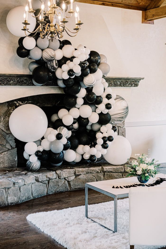 Monochromatic Lounge from a Black & White Balloon Garland + Install from a Modern Graduation Drive-By + Family Dinner on Kara's Party Ideas | KarasPartyIdeas.com (6)