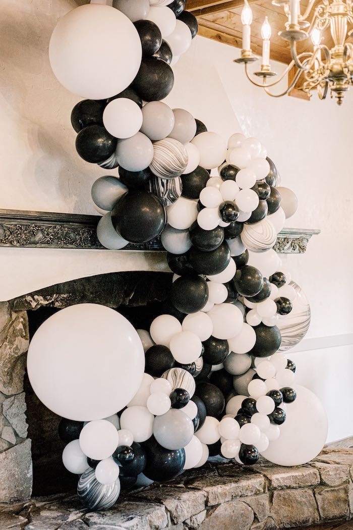 Black & White Balloon Garland + Install from a Modern Graduation Drive-By + Family Dinner on Kara's Party Ideas | KarasPartyIdeas.com (5)