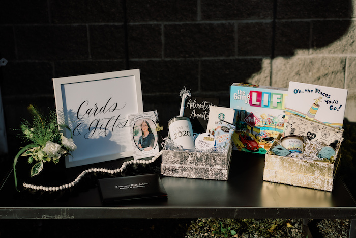 Card & Gift Table from a Modern Graduation Drive-By + Family Dinner on Kara's Party Ideas | KarasPartyIdeas.com (44)