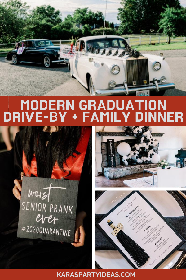 Modern Graduation Drive-By + Family Dinner via Kara's Party Ideas - KarasPartyIdeas.com