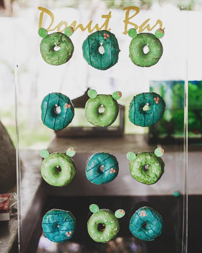 Cactus Donuts on an Acrylic Donut Board from a No Llama Drama Birthday Party on Kara's Party Ideas | KarasPartyIdeas.com (9)
