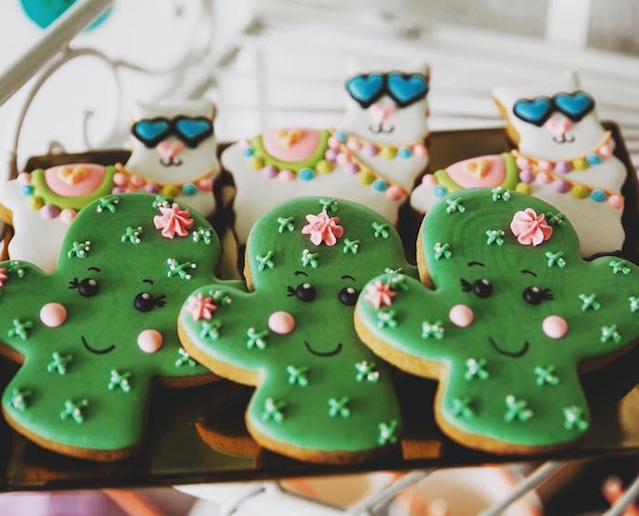 Cactus Cookies from a No Llama Drama Birthday Party on Kara's Party Ideas | KarasPartyIdeas.com (7)