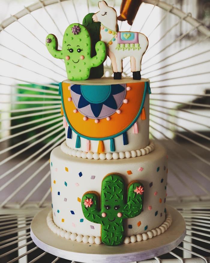 Fiesta Cake from a No Llama Drama Birthday Party on Kara's Party Ideas | KarasPartyIdeas.com (6)
