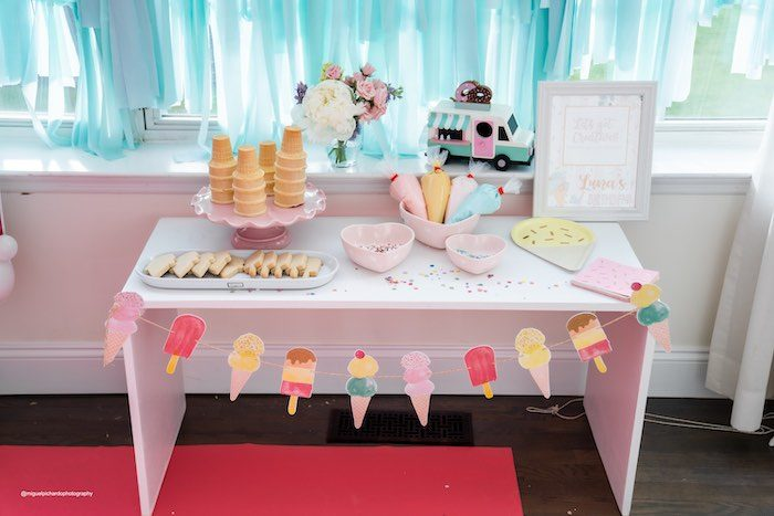 Icing Table from a Pastel Ice Cream Soiree on Kara's Party Ideas   KarasPartyIdeas.com (20)